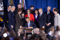 President Barack Obama signs the Don't Ask, Don't Tell Repeal Act of 2010 during a ceremony at the Interior Department in Washington, D.C., Dec. 22, 2010. (Official White House Photo by Chuck Kennedy)